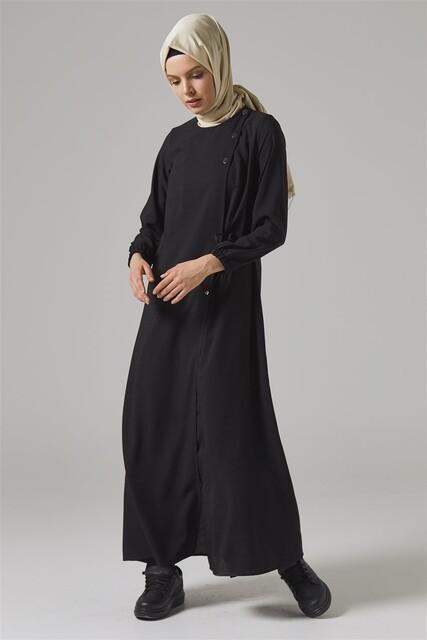 Vivezza Bağlamalı Ferace Pantolon Takım 6857-01 SİYAH - Thumbnail