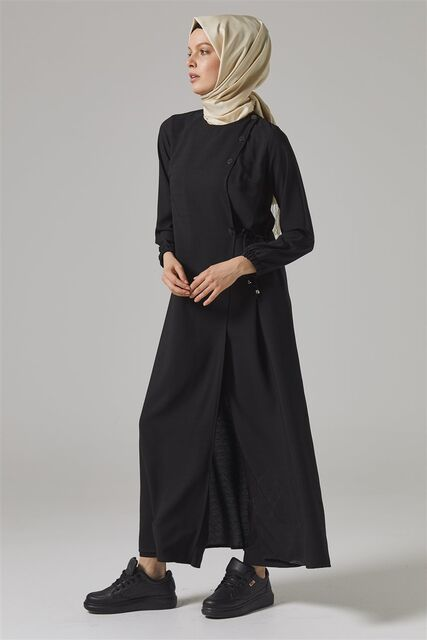 Vivezza Bağlamalı Ferace Pantolon Takım 6857-01 SİYAH