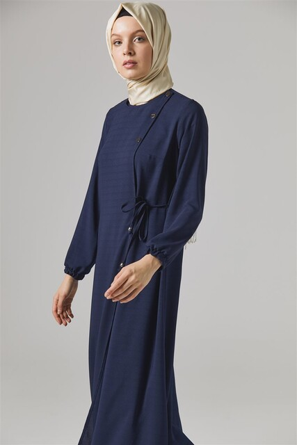 Vivezza Bağlamalı Ferace Pantolon Takım 6857-02 LACİVERT - Thumbnail