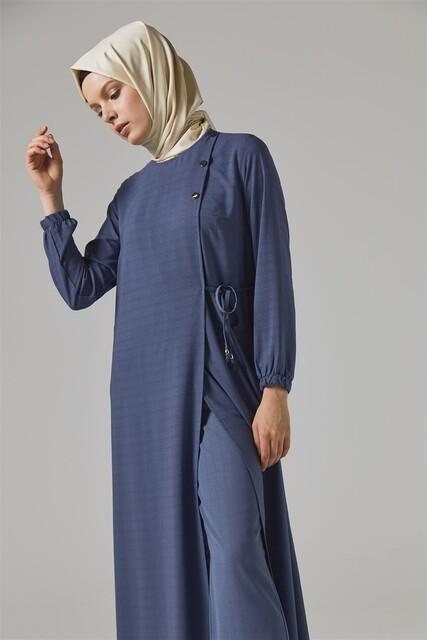 Vivezza - Vivezza Bağlamalı Ferace Pantolon Takım 6857-03 İNDİGO