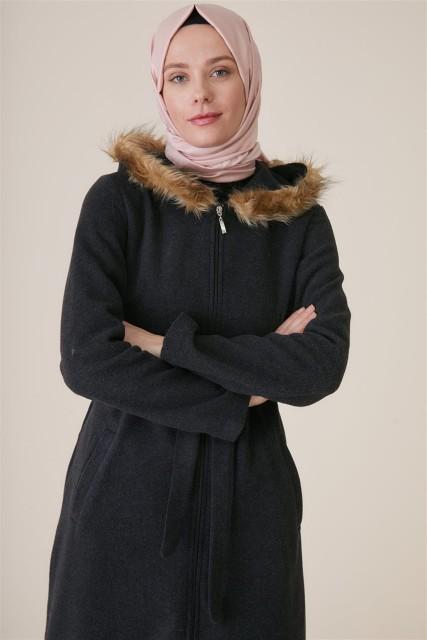 Vivezza - Vivezza Kürklü Kapşonlu Kaşe Kaban 6807-03 ANTRASİT