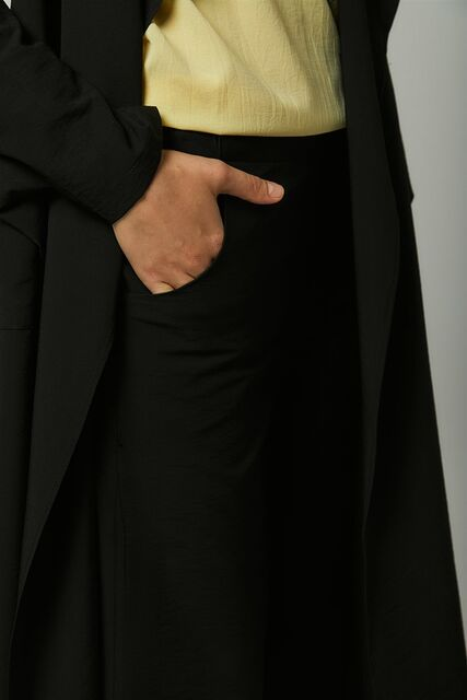 Vivezza Kuşaklı Trençkot Pantolon Takım 6861-01 SİYAH