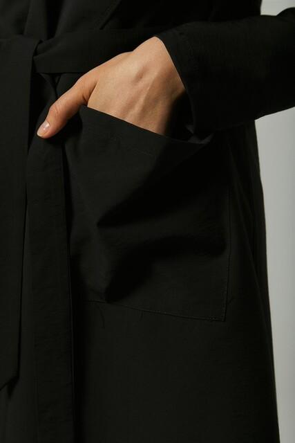 Vivezza Kuşaklı Trençkot Pantolon Takım 6861-01 SİYAH - Thumbnail