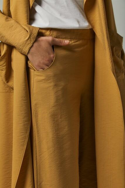 Vivezza Kuşaklı Trençkot Pantolon Takım 6861-03 KAMEL - Thumbnail