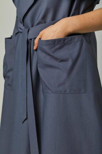 Vivezza Kuşaklı Trençkot Pantolon Takım 6861-04 İNDİGO - Thumbnail