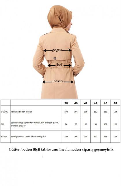 Vivezza Kruvaze Ön Arka Pelerin Astarlı KAP 6713-03 KAMEL - Thumbnail