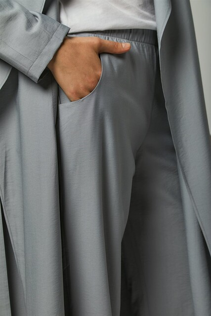Vivezza Kuşaklı Trençkot Pantolon Takım 6861-05 GRİ - Thumbnail