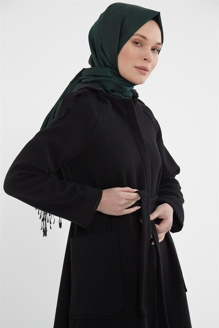 Vivezza Seyyar Kapşonlu Astarlı Kaşe Manto 6874-01 SİYAH - Thumbnail